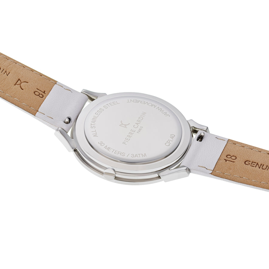 Pigalle Plissée White Leather Watch
