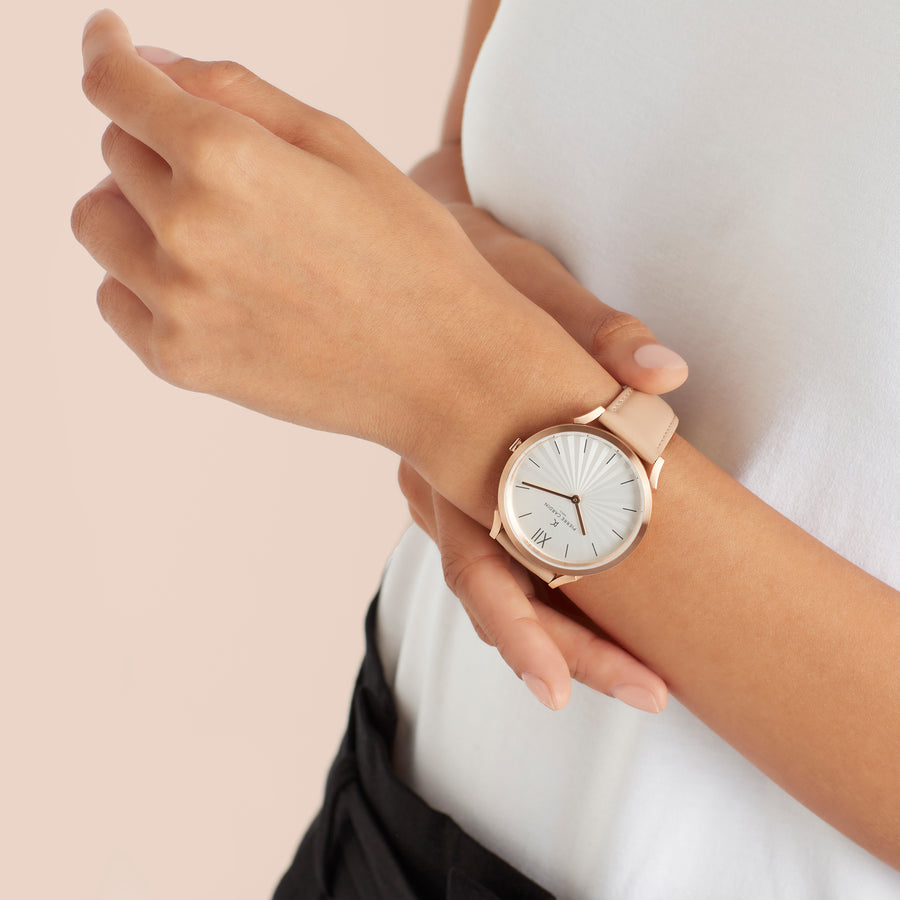 Pigalle Plissée Rose Gold Beige Leather Watch