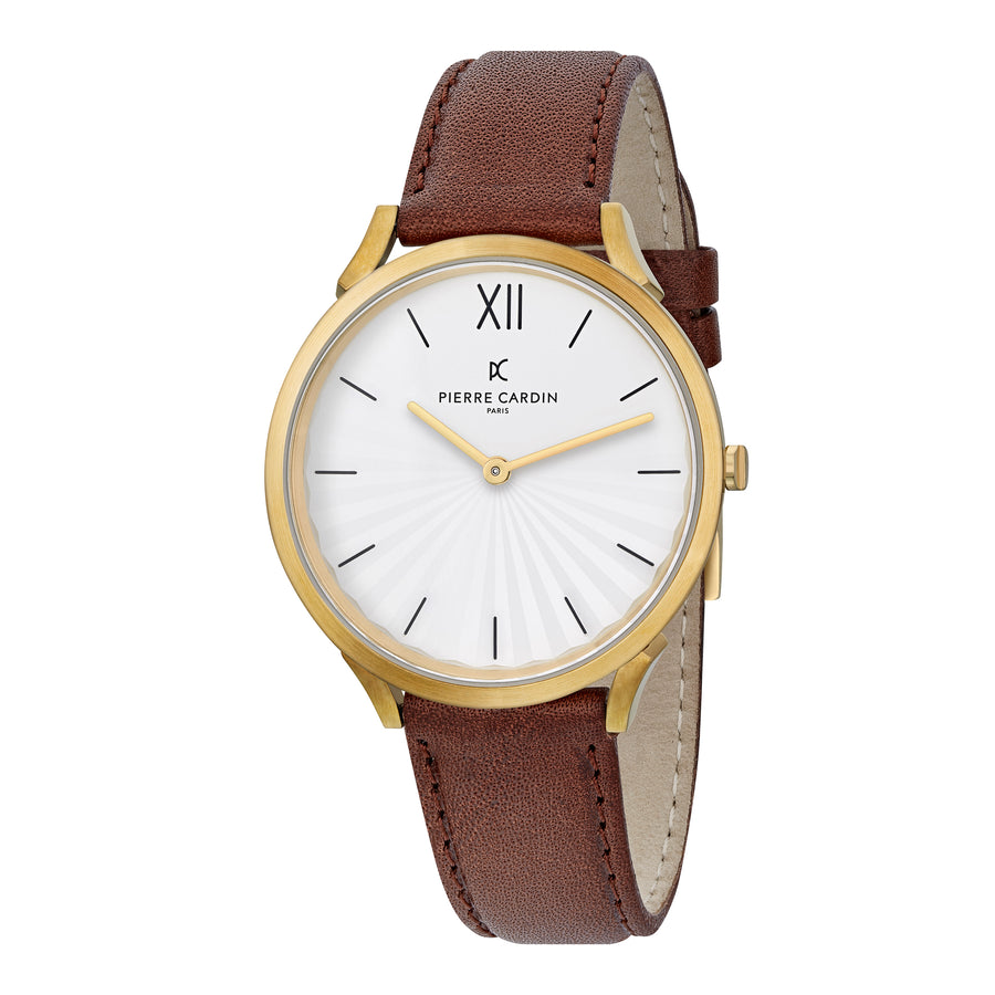 Pigalle Plissée Gold Brown Leather Watch