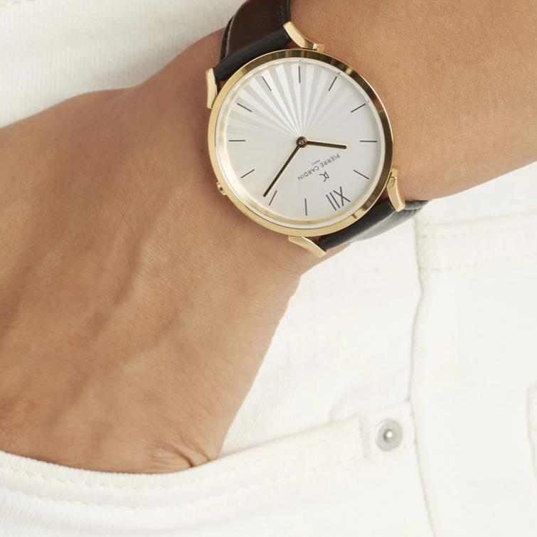 Pigalle Plissée Gold Black Leather Watch