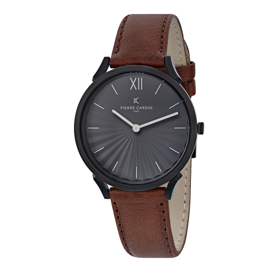 Pigalle Plissée Black Brown Leather Watch