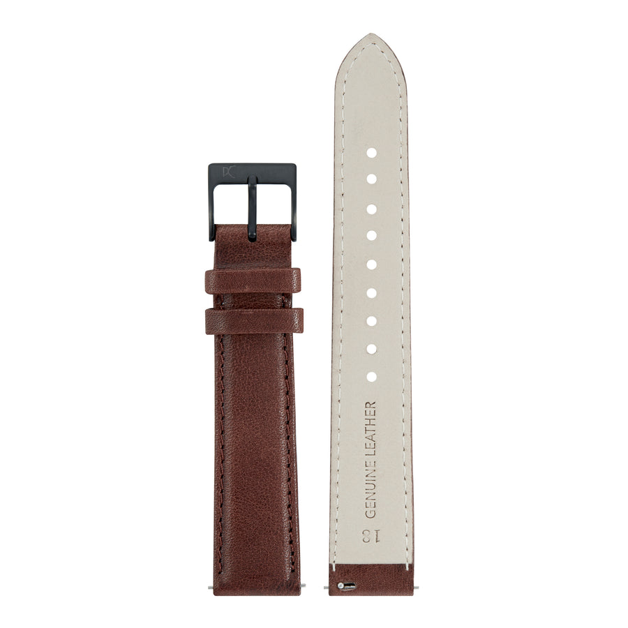 18mm Leather Watch Strap, Dark Brown