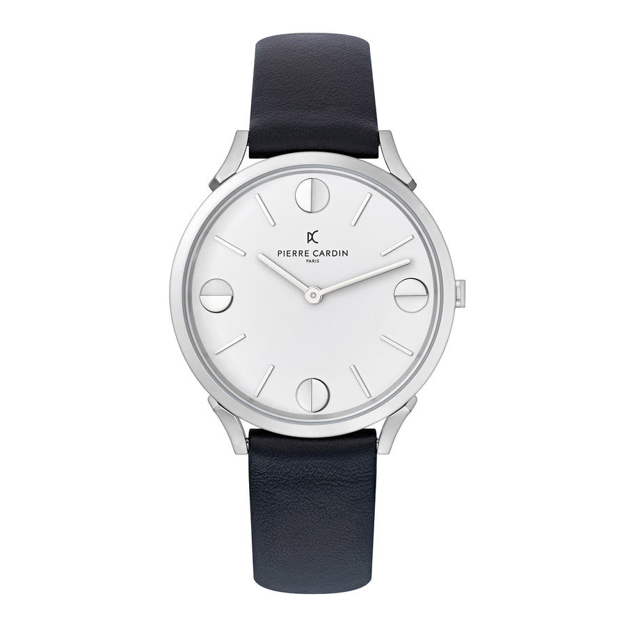 Pigalle Half Moon Black Leather Watch