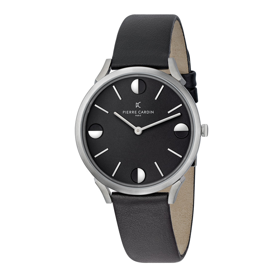 Pigalle Half Moon All Black Leather Watch