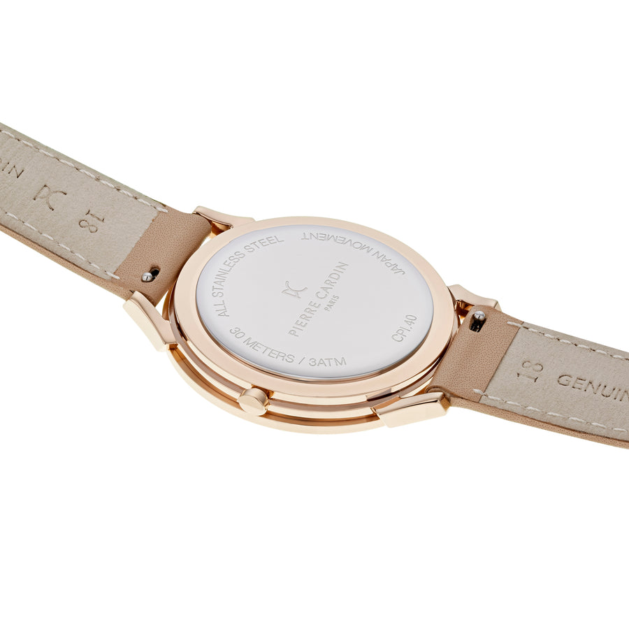 Pigalle Half Moon Rose Gold Beige Leather Watch
