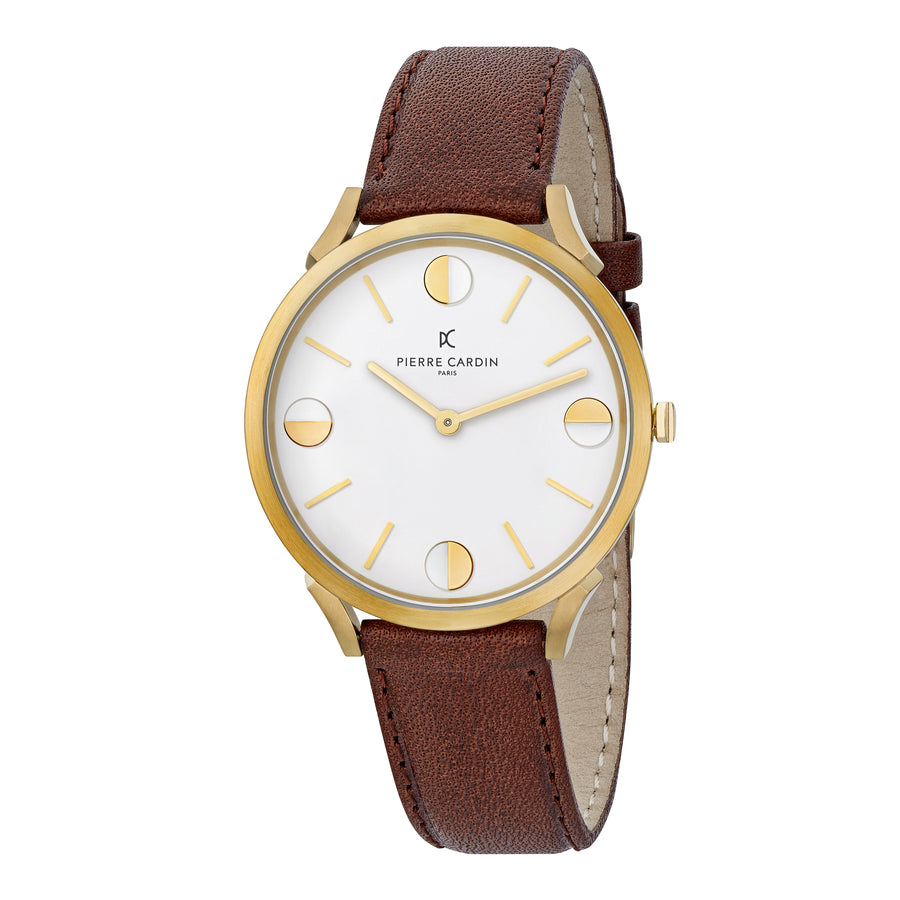 Pigalle Half Moon Gold Brown Leather Watch