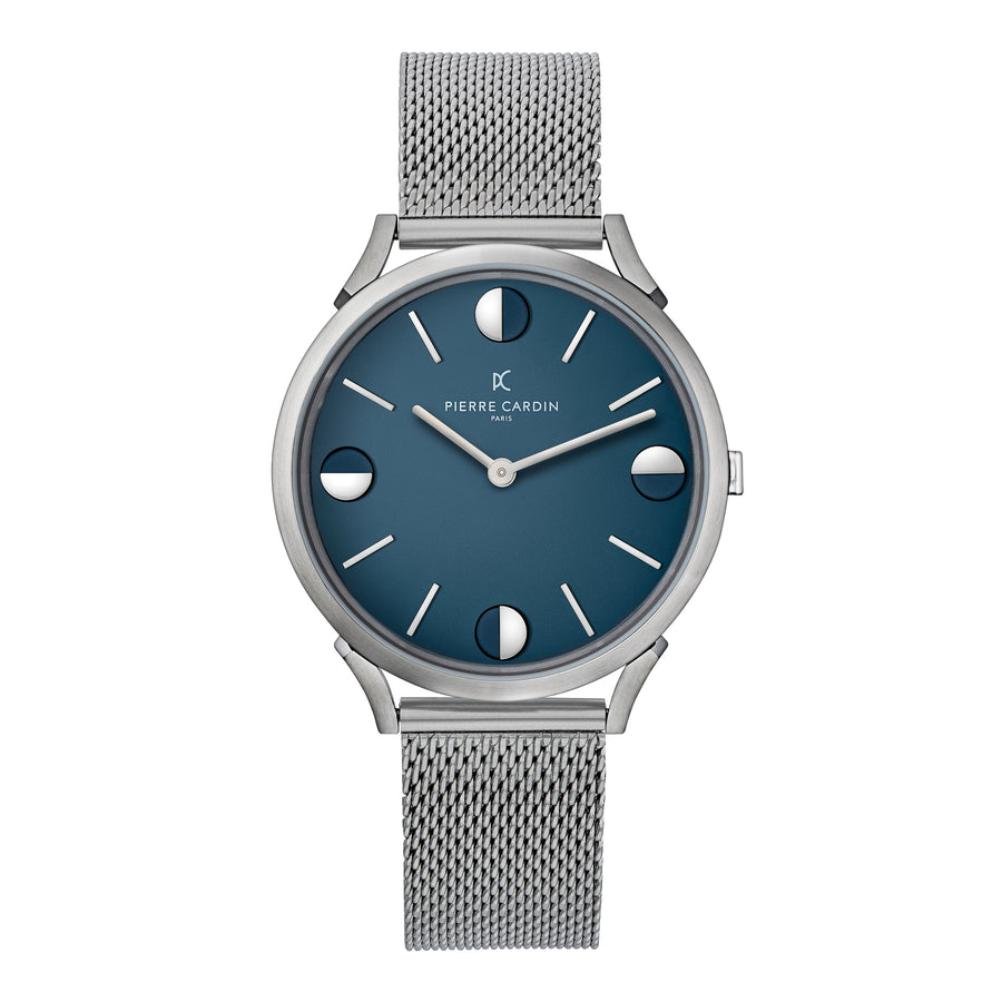 Pigalle Half Moon Blue Stainless Steel Mesh Watch