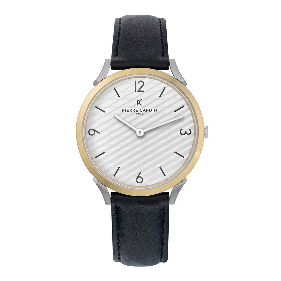 Pigalle Stripes Gold Black Leather Watch