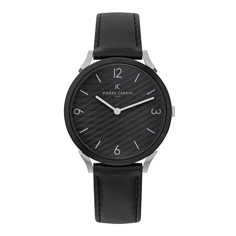 Pigalle Stripes All Black Leather Watch