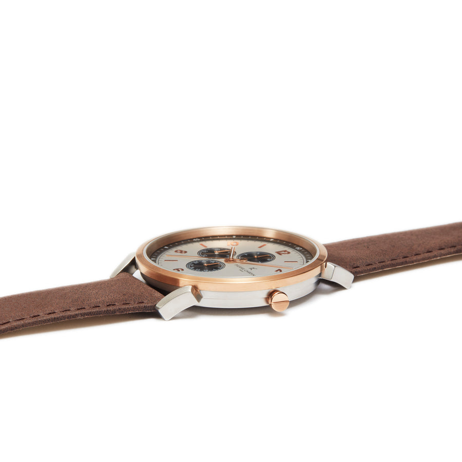 Pigalle Nine Silver Rose Gold Leather Watch