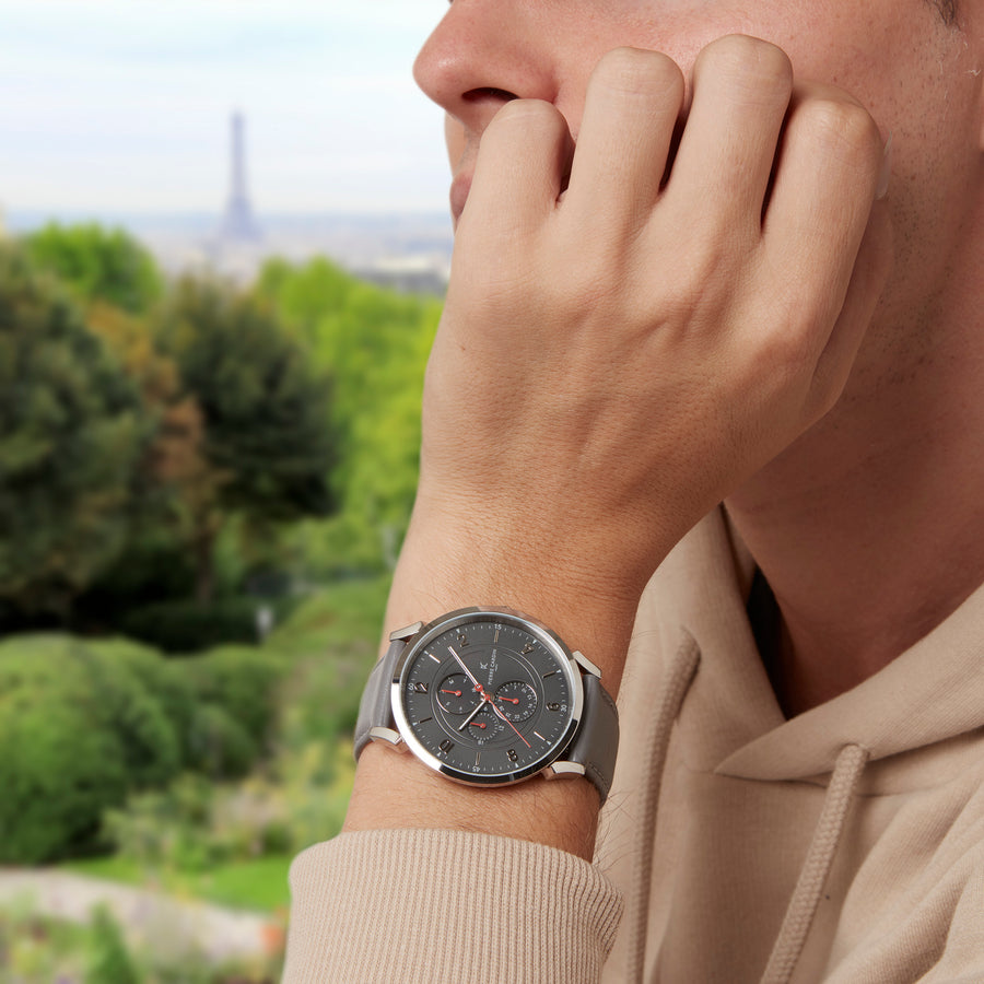 Pigalle Boulevard Silver Gray Leather Watch