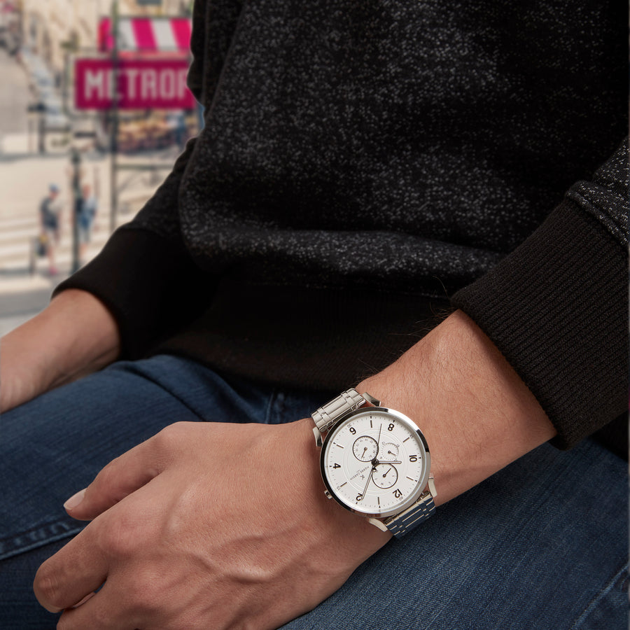Pigalle Boulevard White Stainless Steel Link Watch