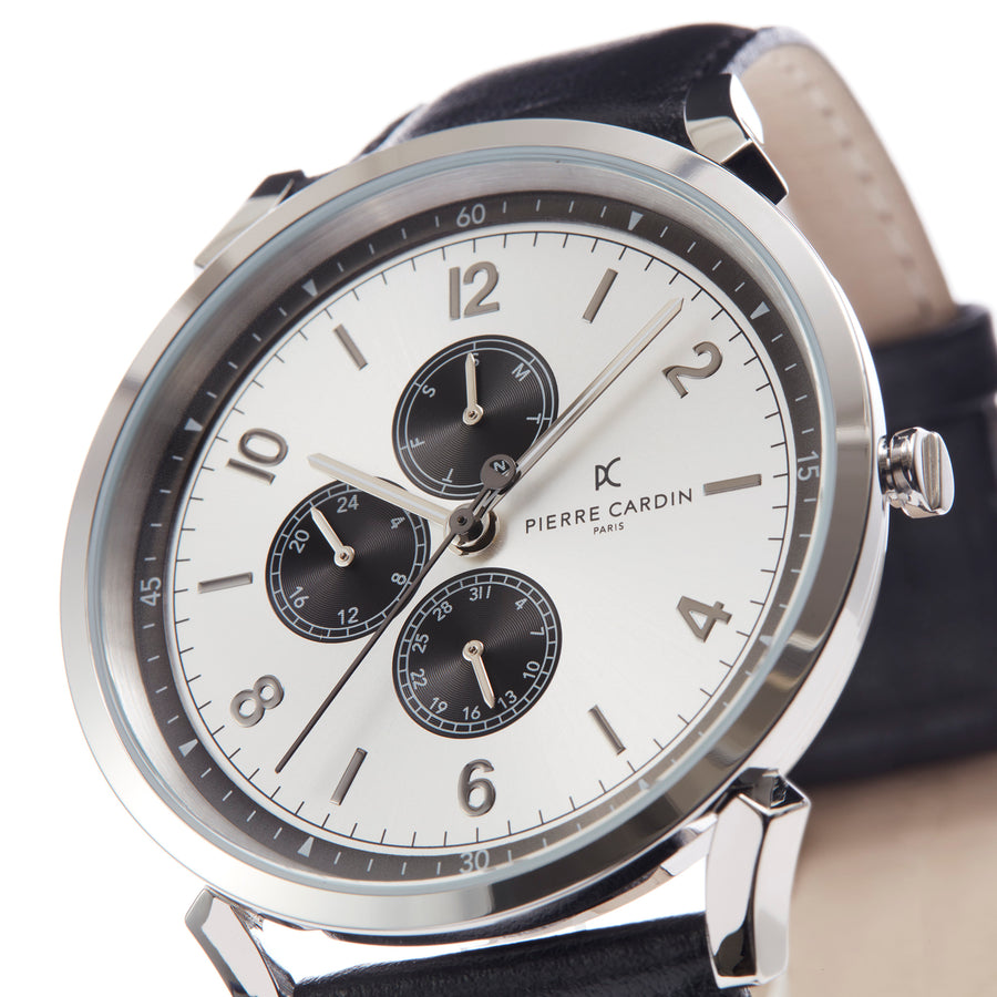 Pigalle Nine Silver Black Leather Watch