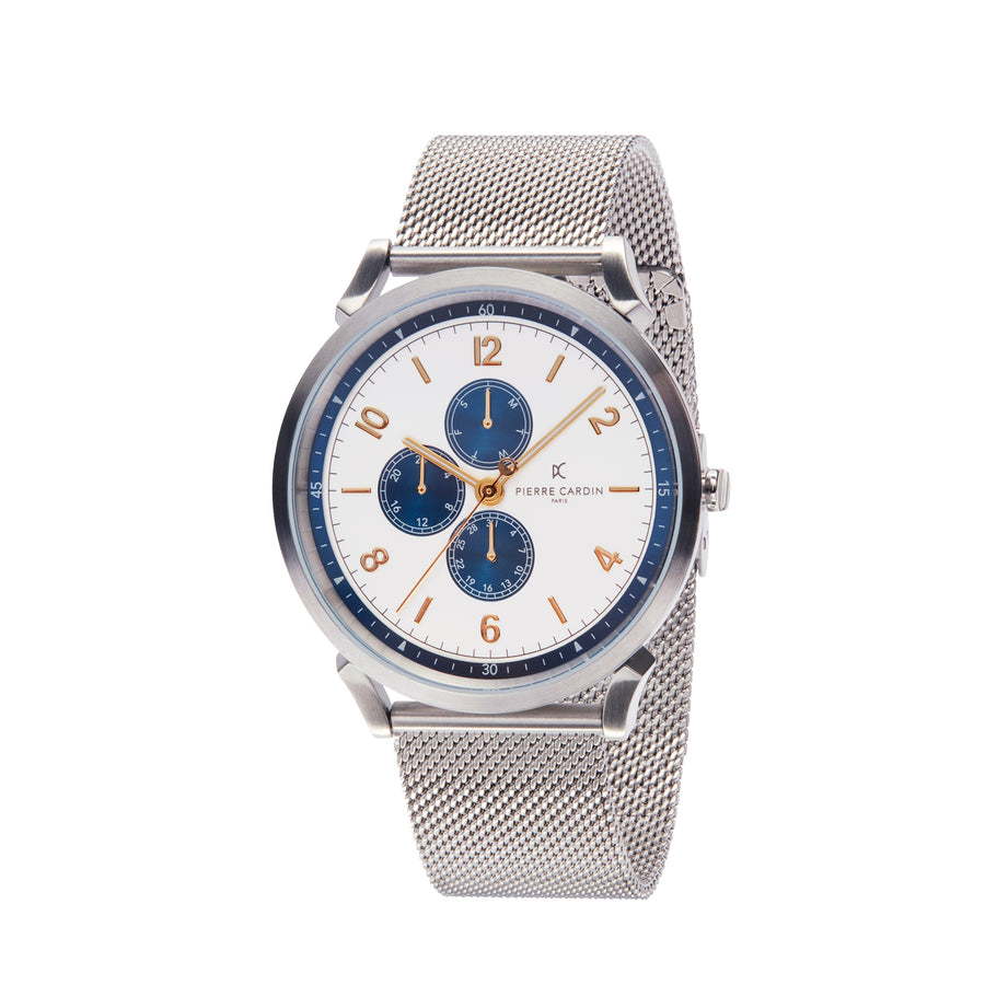 Pigalle Nine Silver Blue Stainless Steel Mesh Watch