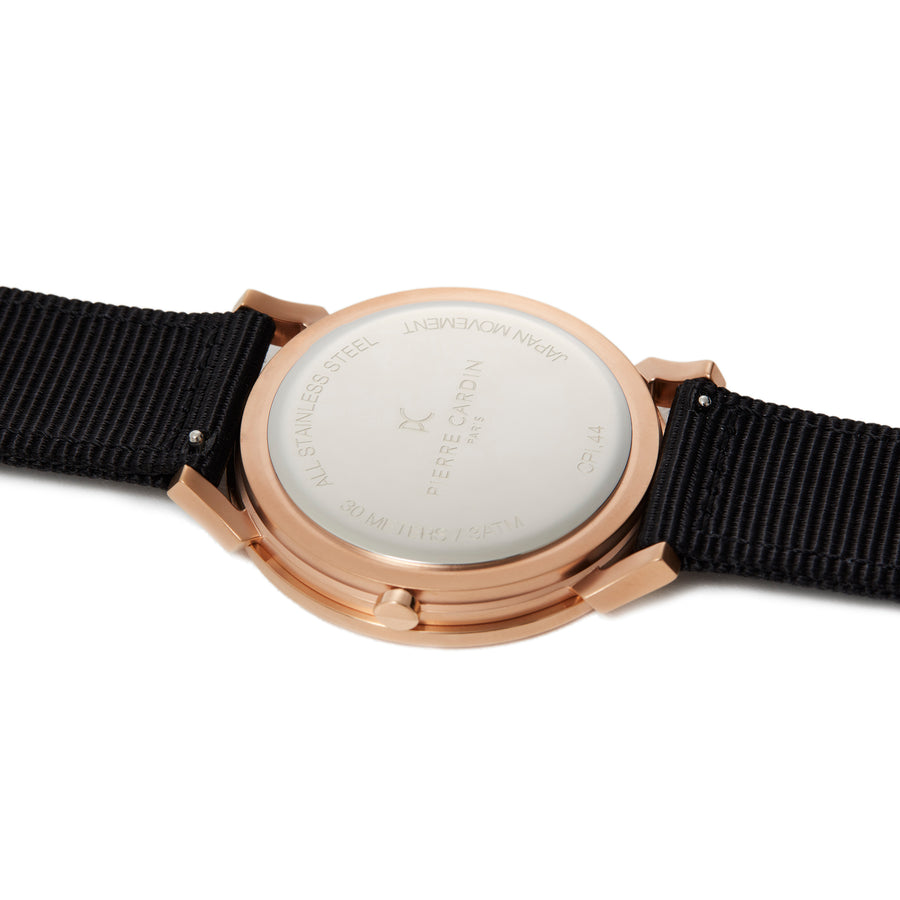 Pigalle Boulevard Rose Gold Black Gray Nylon Watch