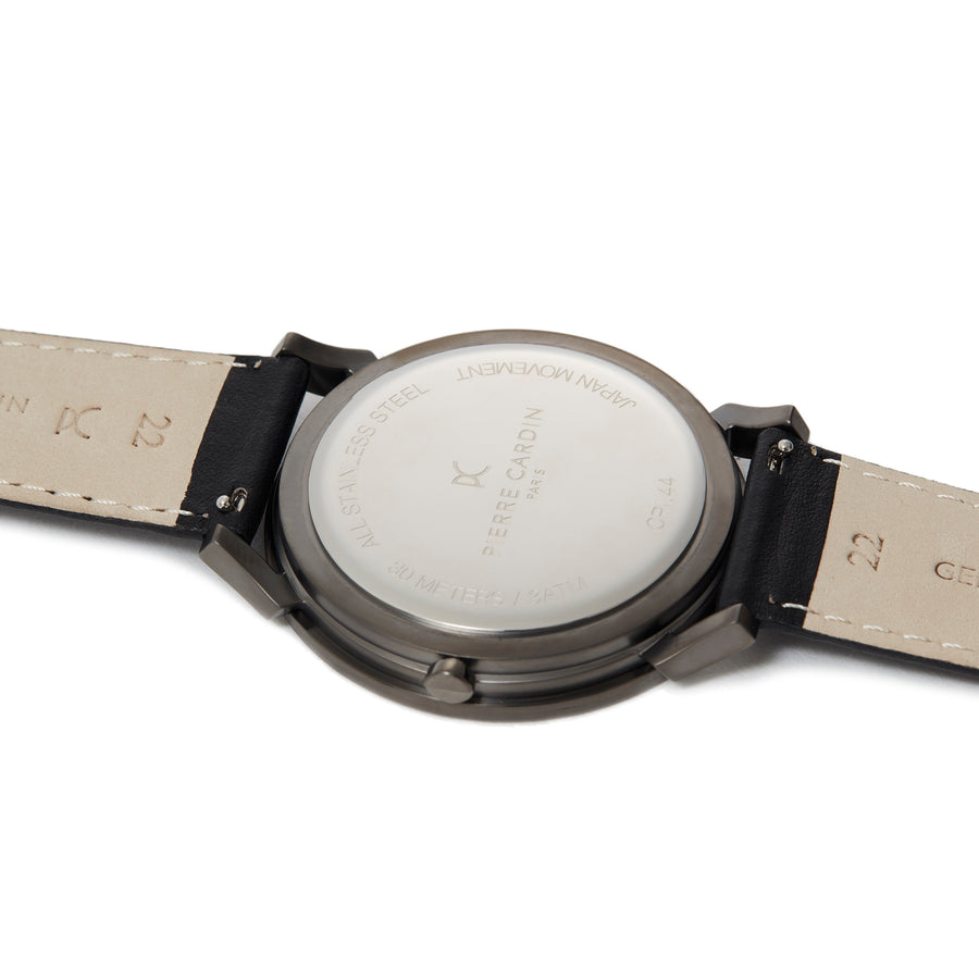 Pigalle Nine Gun Silver Black Leather Watch