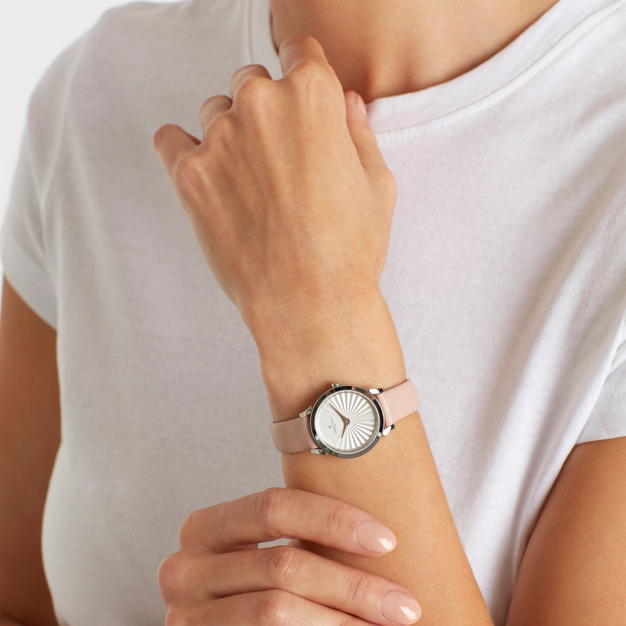 Pigalle Plissée Peach Leather Watch
