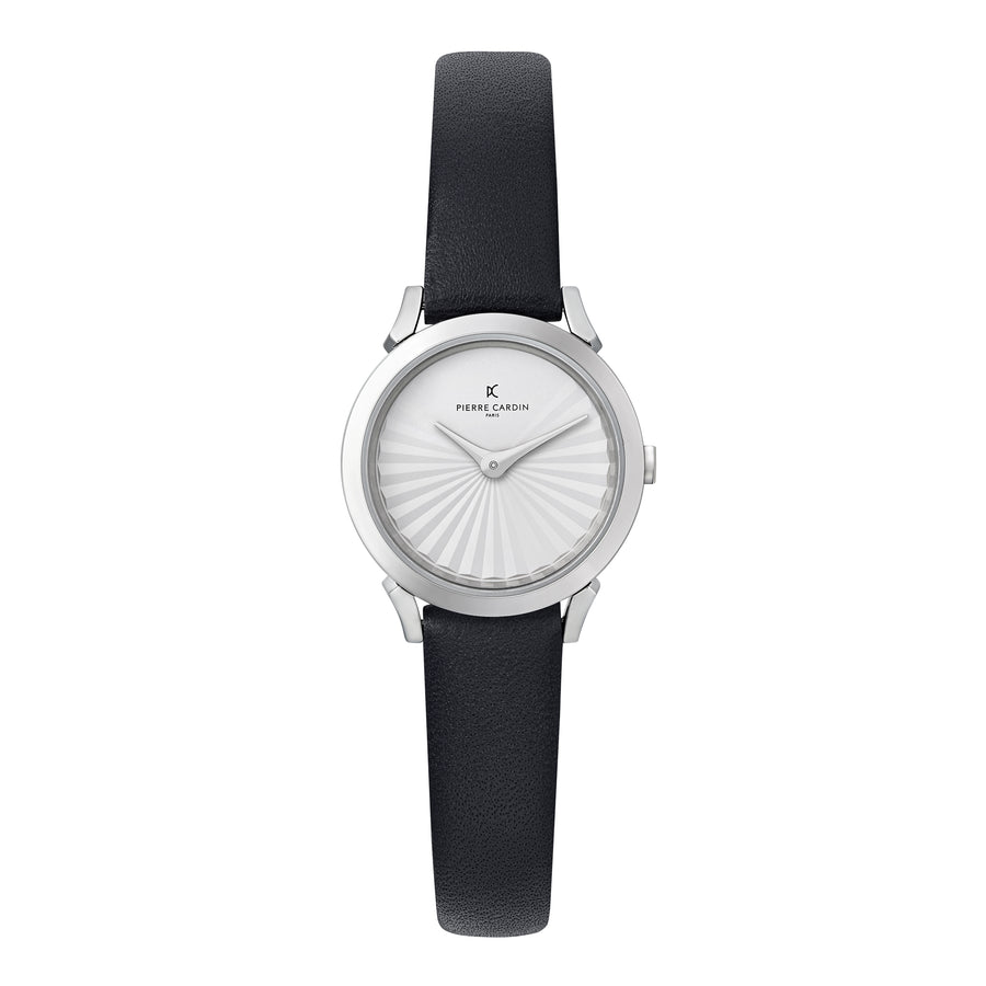 Pigalle Plissée Black Leather Watch