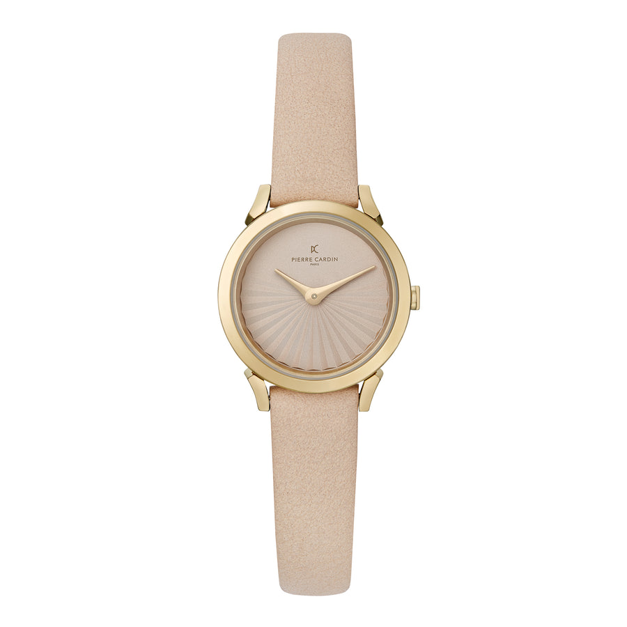 Pigalle Plissée Gold Beige Leather Watch