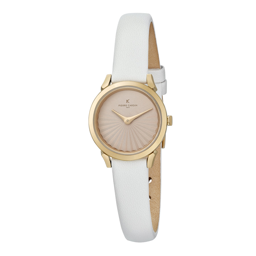 Pigalle Plissée Gold White Leather Watch