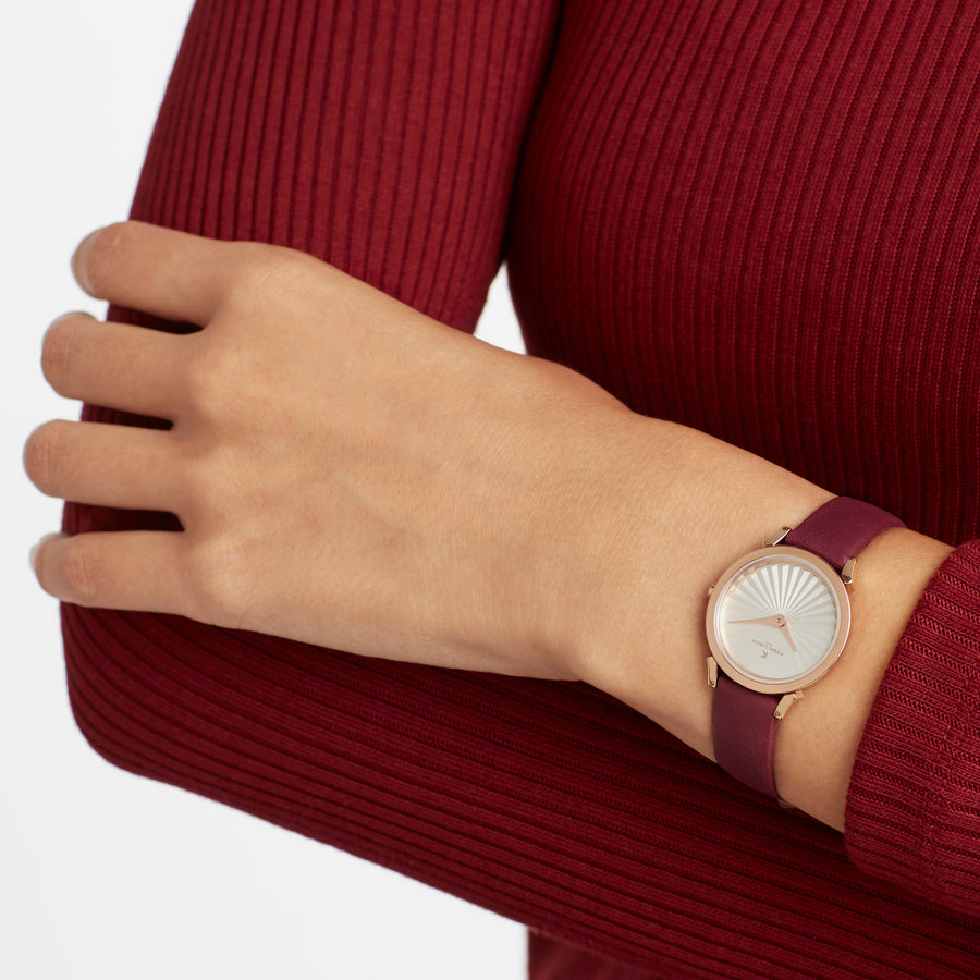 Pigalle Plissée Rose Gold Burgundy Leather Watch