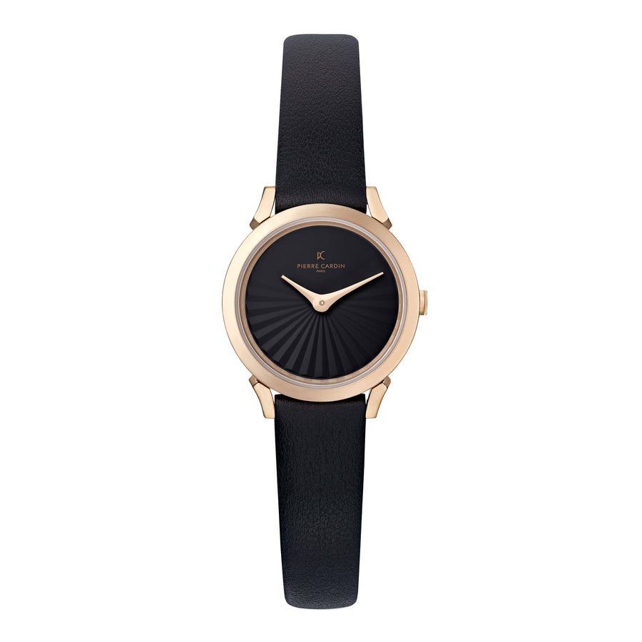 Pigalle Plissée Rose Gold Black Leather Watch