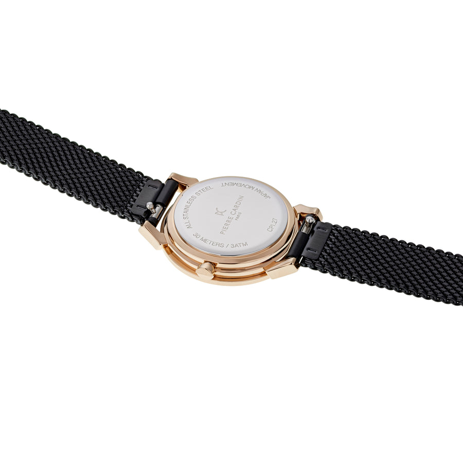 Pigalle Plissée Rose Gold Black Stainless Steel Mesh Watch