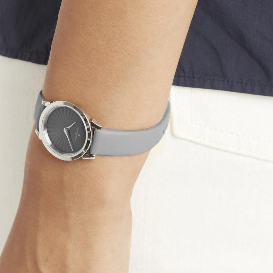 Pigalle Plissée Light Gray Leather Watch