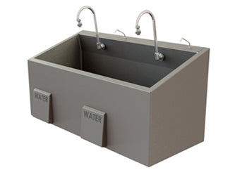 Dual Bay Economy Sink with Knee Operated Water