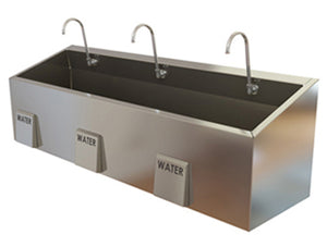 Triple Bay Economy Sink with Knee Operated Water