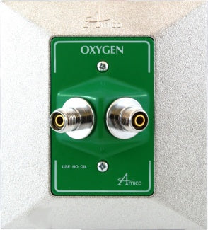 Amico Medical Gas Face Plate Assembly for Dual Oxygen Outlet Dual DISS Connect
