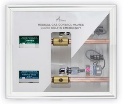 "Amico Zone ValveZone Valve Box with Sensor - 1/2""OXY, 1/2""N20, 1/2"" Med Air, 3/4""VAC. 3.4"" WAGD"