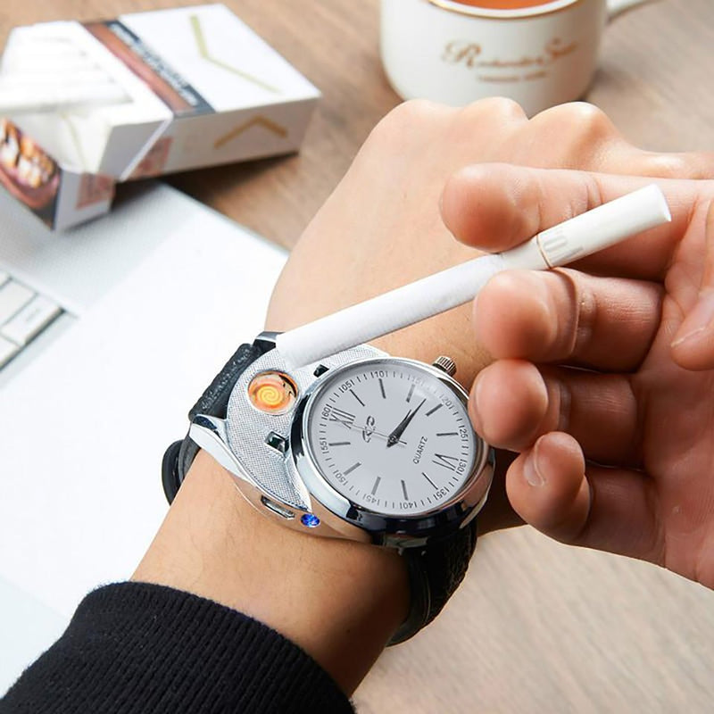 Cigarette Lighter Watch- Flameless Electronic Cigarette Lighter Rechargeable