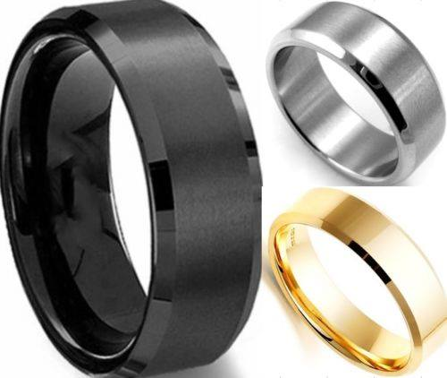 Stainless Steel Ring Band Titanium Silver Black Gold Men