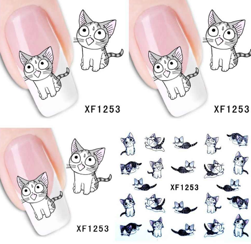 Nail Stickers XF1253 1 sheet Cartoon Watermark Water Transfer Design