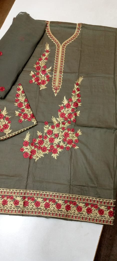 Cotton Embroidery Suit with chiffon Dupatta/ 3PC