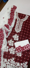 Ajrak Embroidery Suit with chiffon Dupatta/ 3PC