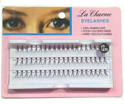 Eyelashes Hand tied, feathered 12 mm