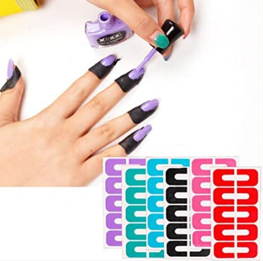 Nail Protector U-Shaped Stickers Nail Polish Glue Overflow Preventing Tool - Random Color