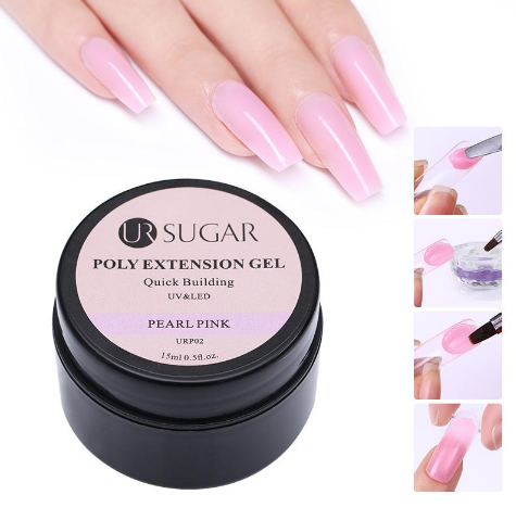 UR Sugar Polygel Finger Extension Pink Jelly Gel  Nail Tips Extend Builder Quick Building UV Gel