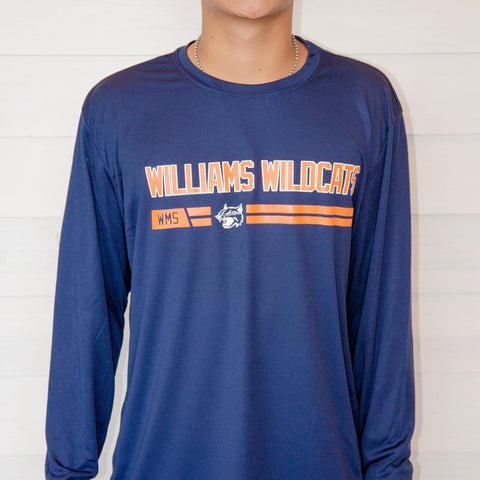 WILLIAMS WILDCATS LONGSLEEVE DRIFIT MIDDLE SCHOOL SPIRIT WEAR