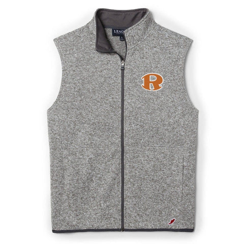 0674 HEATHER GREY ROCKWALL SARANAC VEST WITH EMBROIDERED ROCKIC R