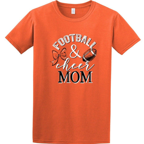 0723 ORANGE FOOTBALL &CHEER MOM TEE