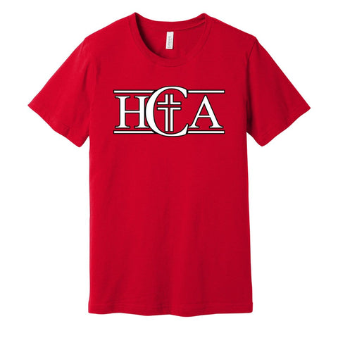 0861 RED SS WTIH BLACK AND WHITE HCA LOGO