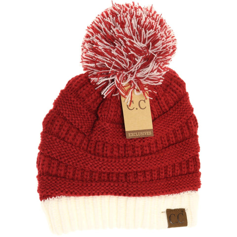 RED AND WHITE CC HEATH GAME DAY POM BEANIE