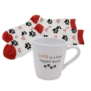 Pawprint and Heart Mug & Sock Set