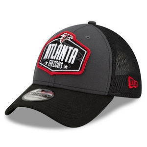 Men's New Era Graphite/Black Atlanta Falcons 2021 NFL Draft Trucker 39Thirty Flex Hat