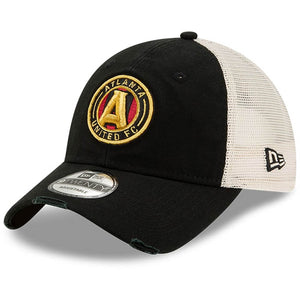 Men's Atlanta United FC New Era Black Worn 9TWENTY Adjustable Trucker Hat