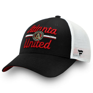 Women's Atlanta United FC Fanatics Branded Black/White Iconic Lockup Trucker Adjustable Snapback Hat