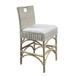 Coastal Inspired Counter Stool, woven rattan wicker